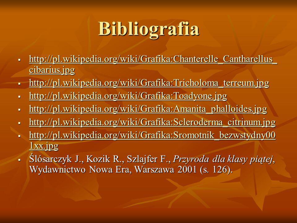 Bibliografia http://pl.wikipedia.org/wiki/Grafika:Chanterelle_Cantharellus_cibarius.jpg. http://pl.wikipedia.org/wiki/Grafika:Tricholoma_terreum.jpg.