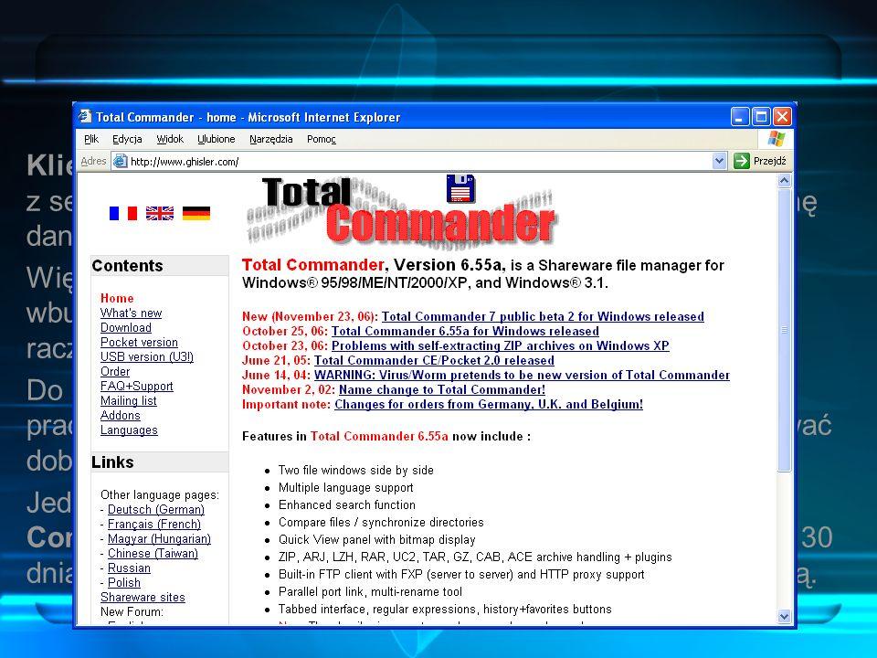 Klient FTP Klient FTP to program, który pozwala na połączenie się z serwerem FTP i pobieranie lub wysyłanie plików – wymianę danych.