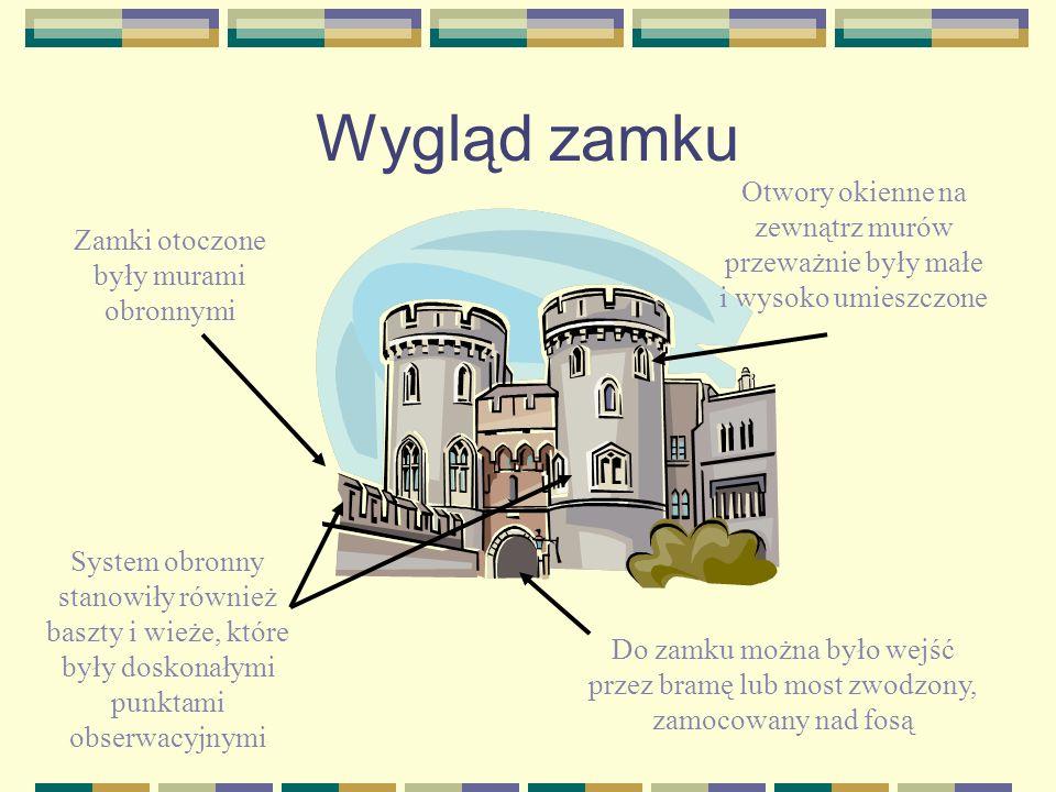 Wygląd zamku Otwory okienne na zewnątrz murów przeważnie były małe