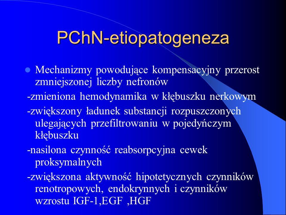 PChN-etiopatogeneza Mechanizmy powodujące kompensacyjny przerost zmniejszonej liczby nefronów. -zmieniona hemodynamika w kłębuszku nerkowym.