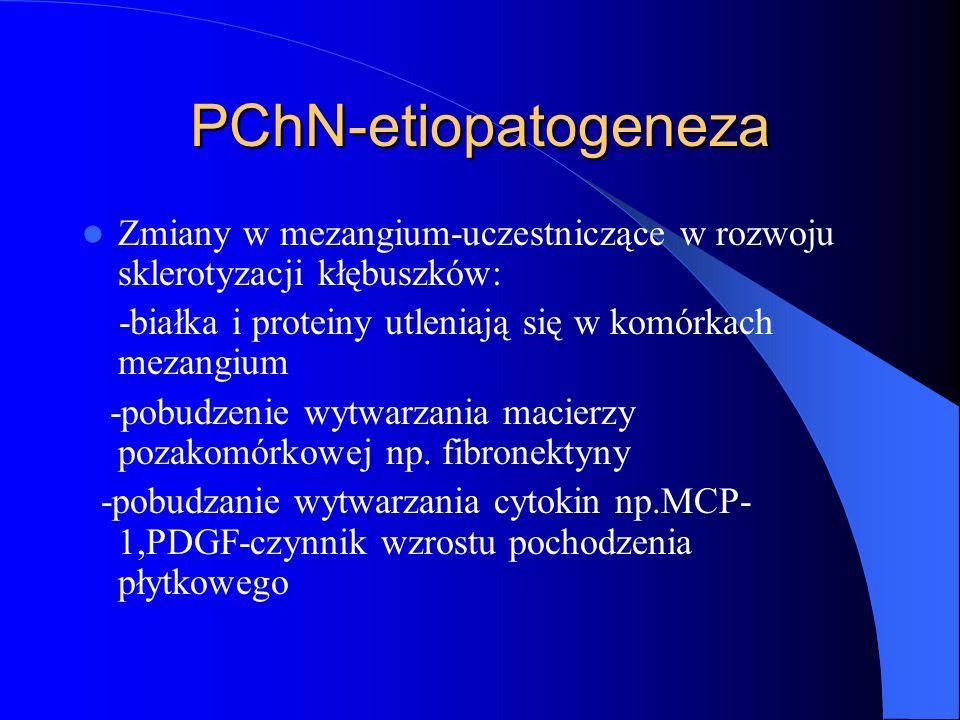 PChN-etiopatogeneza Zmiany w mezangium-uczestniczące w rozwoju sklerotyzacji kłębuszków: -białka i proteiny utleniają się w komórkach mezangium.