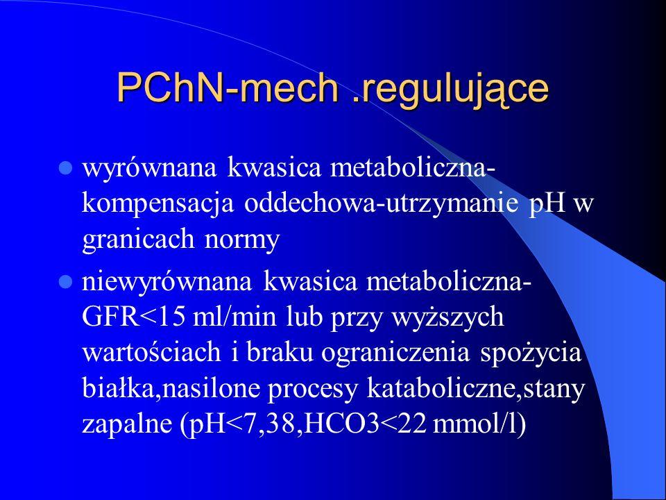 PChN-mech .regulujące wyrównana kwasica metaboliczna-kompensacja oddechowa-utrzymanie pH w granicach normy.