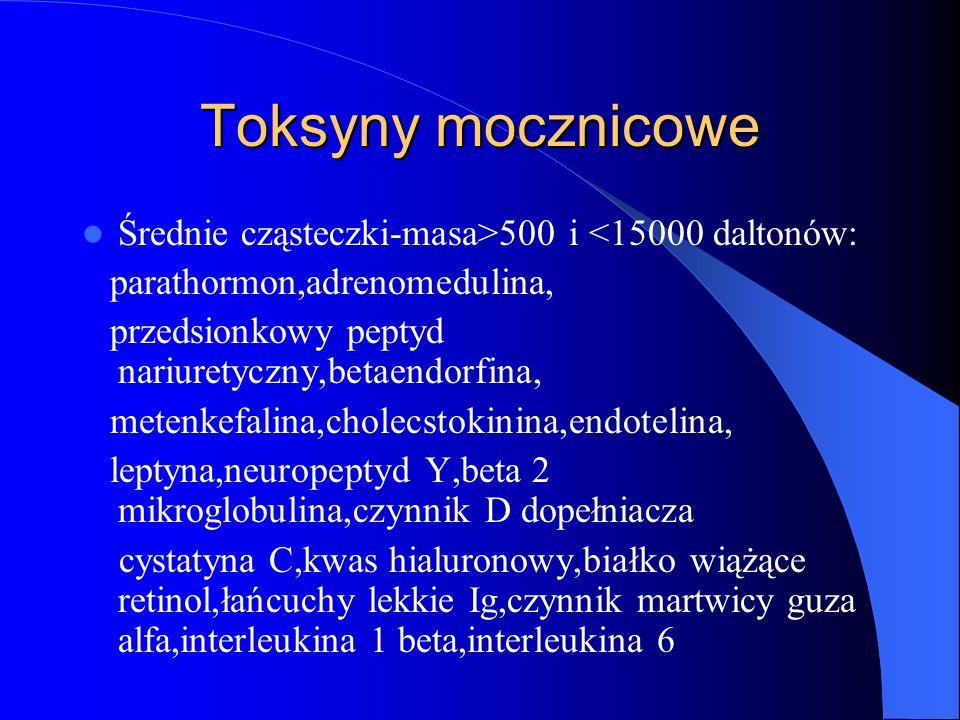 Toksyny mocznicowe Średnie cząsteczki-masa>500 i <15000 daltonów: parathormon,adrenomedulina, przedsionkowy peptyd nariuretyczny,betaendorfina,