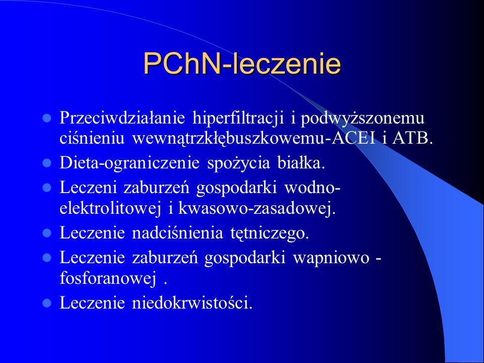PChN-leczenie Przeciwdziałanie hiperfiltracji i podwyższonemu ciśnieniu wewnątrzkłębuszkowemu-ACEI i ATB.