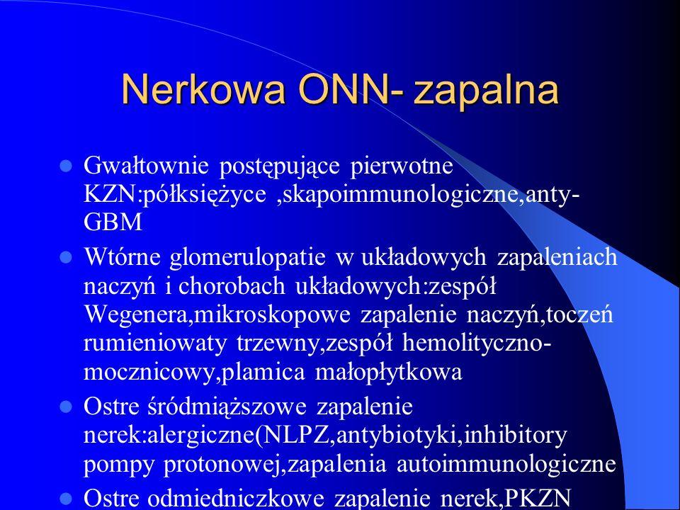 Nerkowa ONN- zapalna Gwałtownie postępujące pierwotne KZN:półksiężyce ,skapoimmunologiczne,anty-GBM.