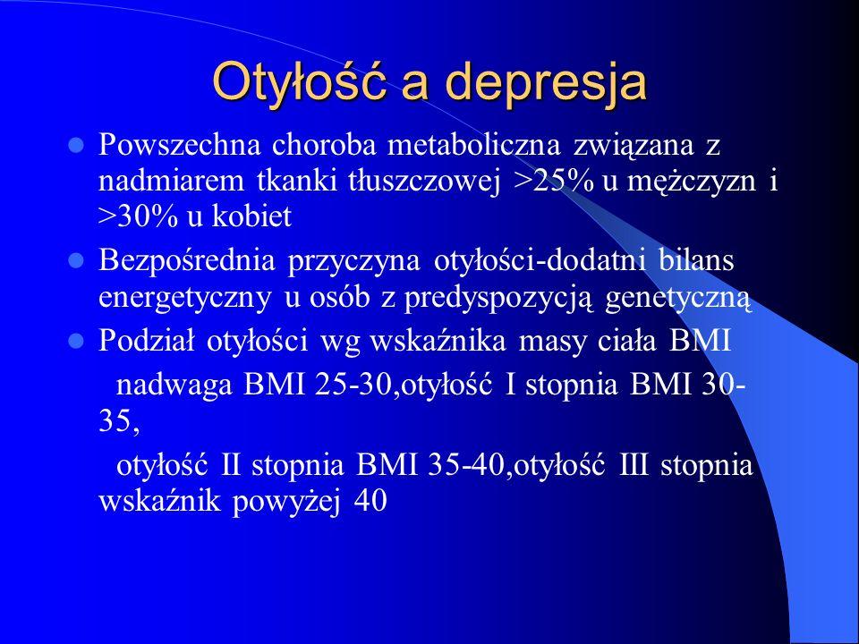 Otyłość a depresja Powszechna choroba metaboliczna związana z nadmiarem tkanki tłuszczowej >25% u mężczyzn i >30% u kobiet.