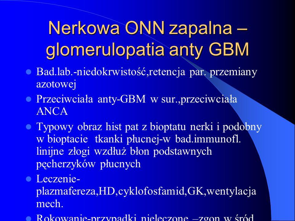 Nerkowa ONN zapalna –glomerulopatia anty GBM