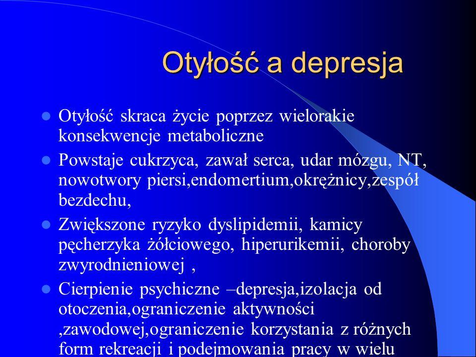 Otyłość a depresja Otyłość skraca życie poprzez wielorakie konsekwencje metaboliczne.