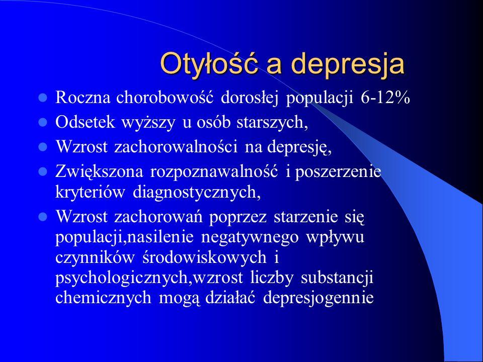 Otyłość a depresja Roczna chorobowość dorosłej populacji 6-12%