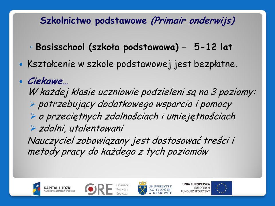 Szkolnictwo podstawowe (Primair onderwijs)