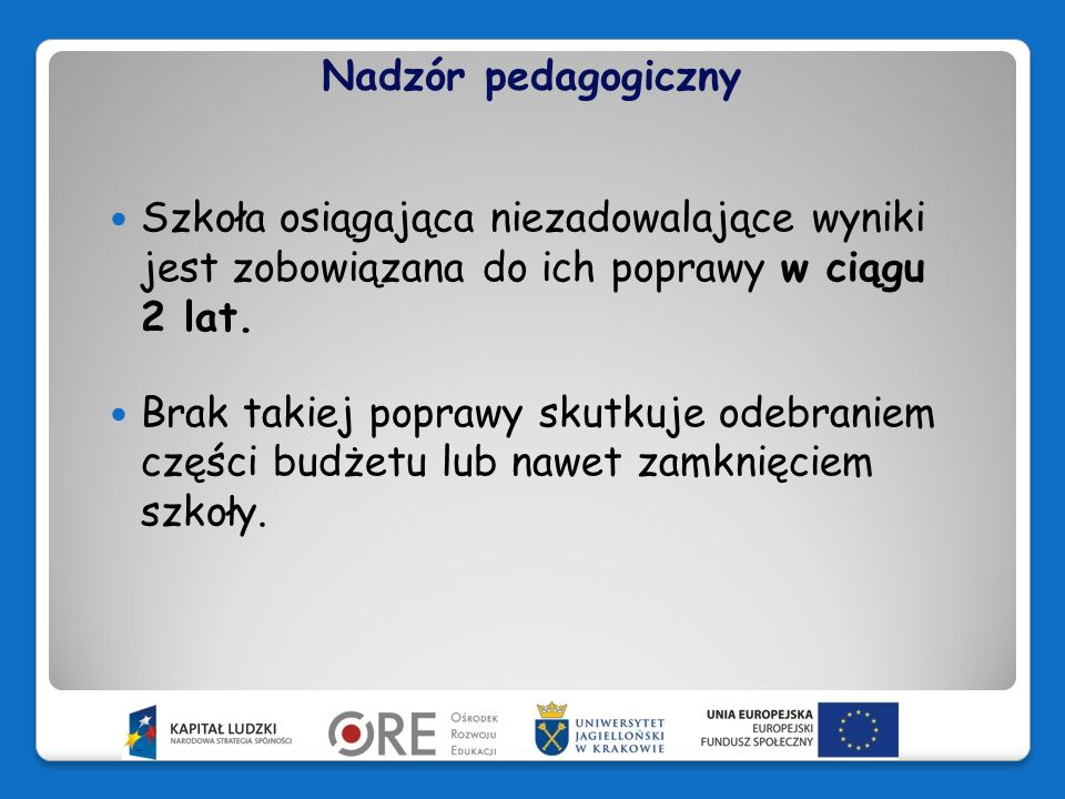 Nadzór pedagogiczny Szkoła osiągająca niezadowalające wyniki jest zobowiązana do ich poprawy w ciągu 2 lat.