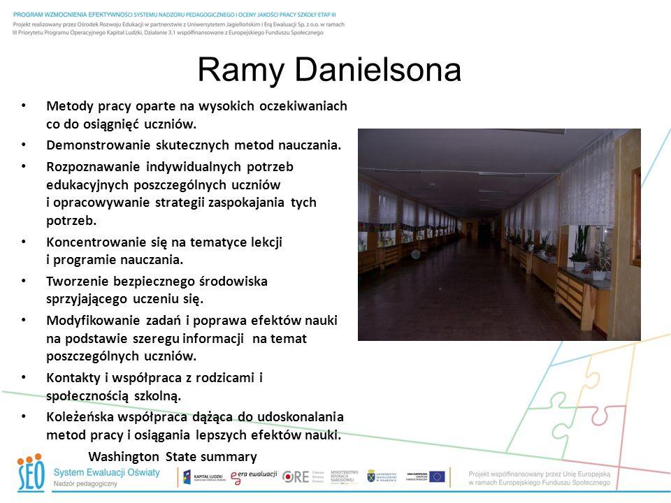 Ramy Danielsona Metody pracy oparte na wysokich oczekiwaniach co do osiągnięć uczniów. Demonstrowanie skutecznych metod nauczania.