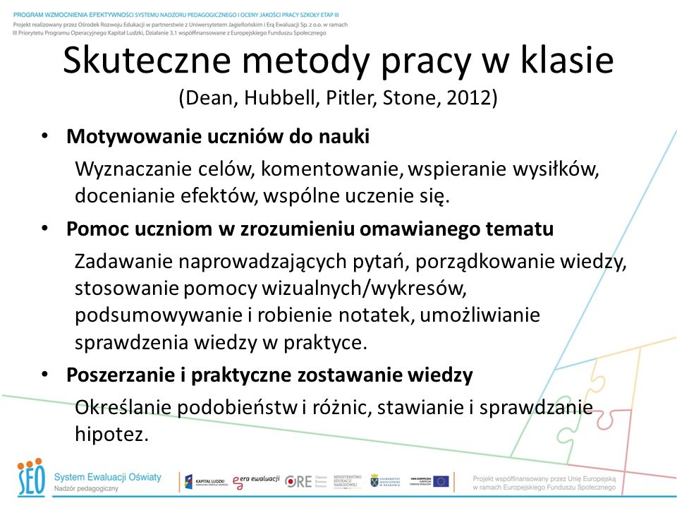 Skuteczne metody pracy w klasie (Dean, Hubbell, Pitler, Stone, 2012)