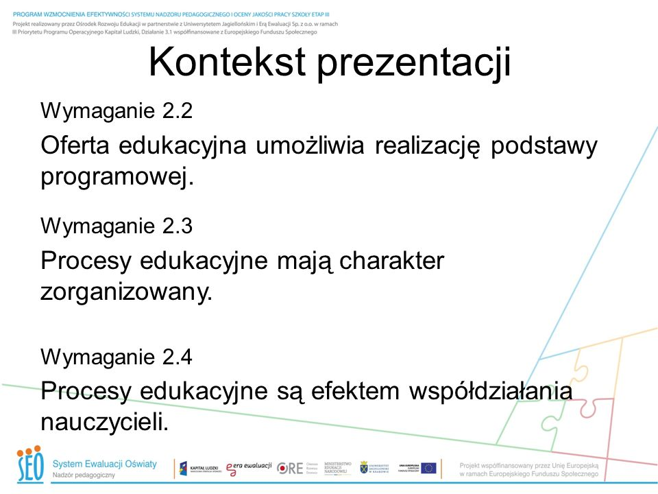 Kontekst prezentacji Wymaganie 2.2. Oferta edukacyjna umożliwia realizację podstawy programowej. Wymaganie 2.3.