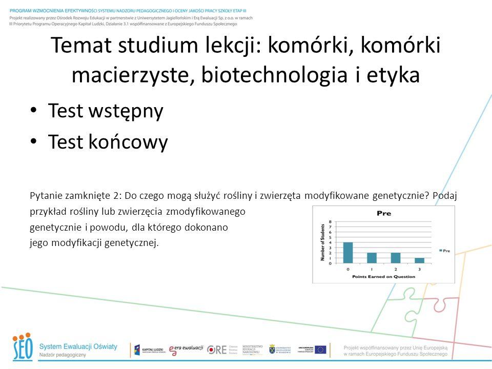 Temat studium lekcji: komórki, komórki macierzyste, biotechnologia i etyka