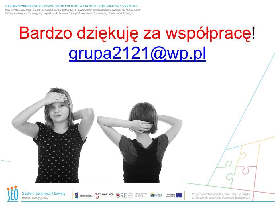 Bardzo dziękuję za współpracę! grupa2121@wp.pl