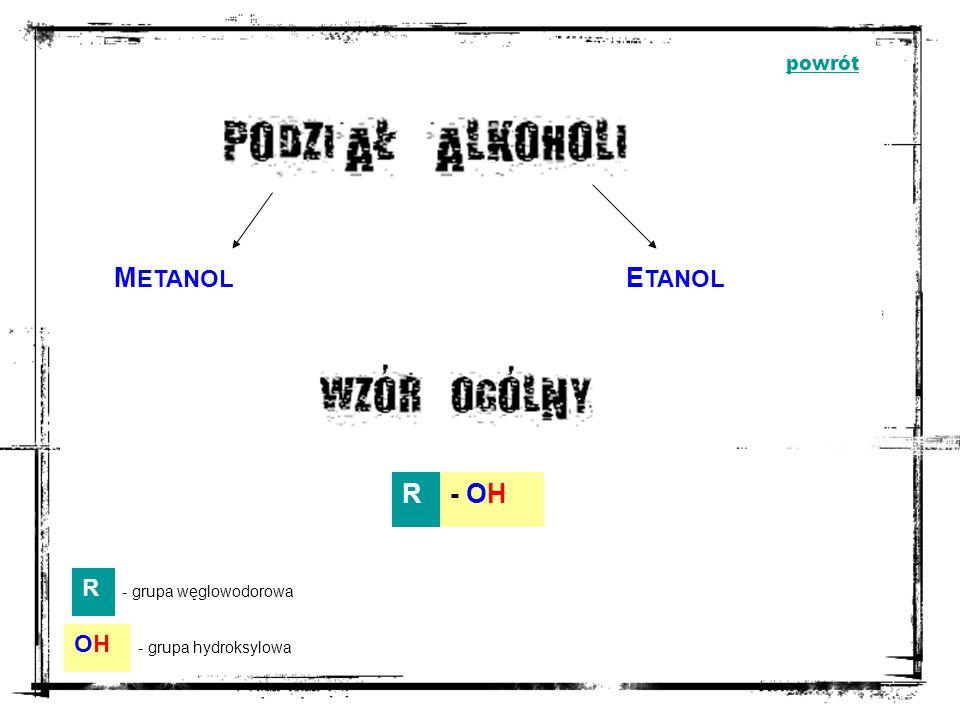 METANOL ETANOL R - OH R OH powrót - grupa węglowodorowa