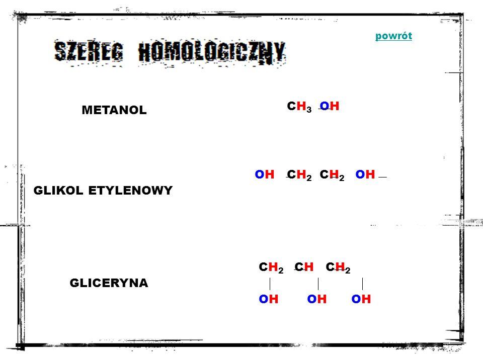 CH3 OH METANOL OH CH2 CH2 OH GLIKOL ETYLENOWY CH2 CH CH2 GLICERYNA OH