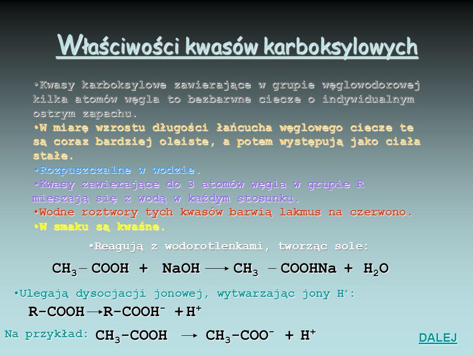 Właściwości kwasów karboksylowych
