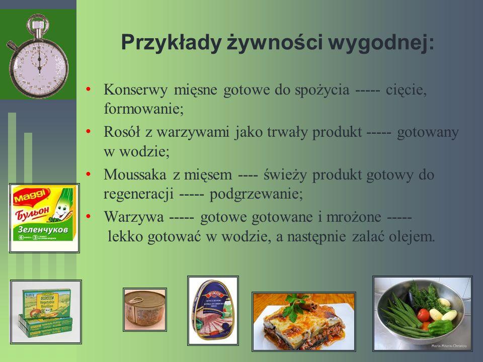 Przykłady żywności wygodnej: