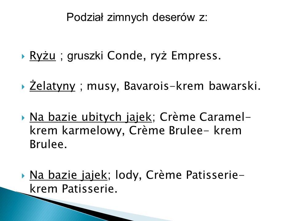 Podział zimnych deserów z: