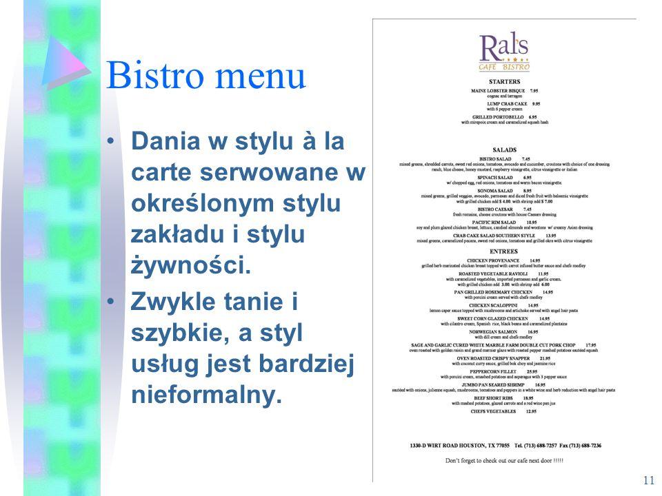 Bistro menu Dania w stylu à la carte serwowane w określonym stylu zakładu i stylu żywności.