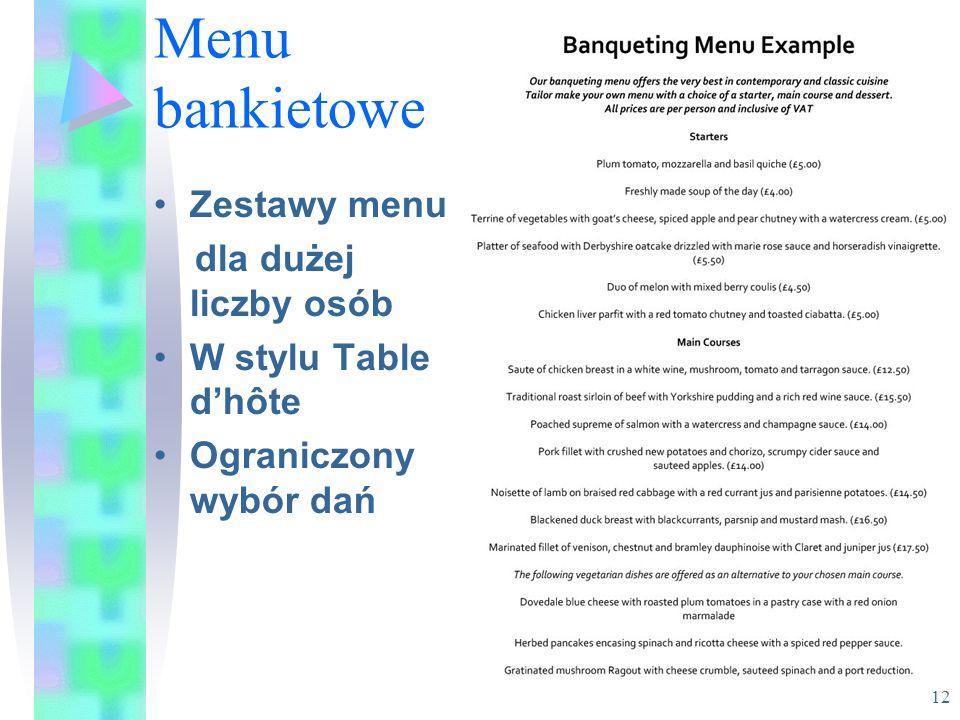 Menu bankietowe Zestawy menu dla dużej liczby osób