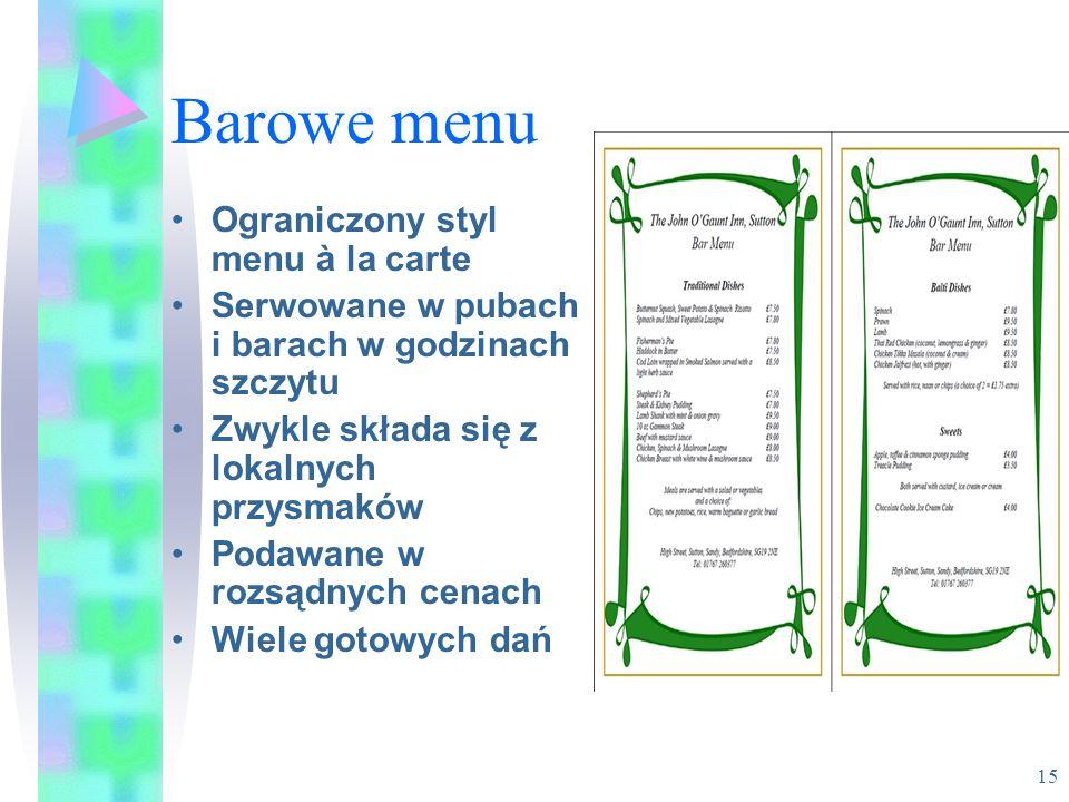 Barowe menu Ograniczony styl menu à la carte