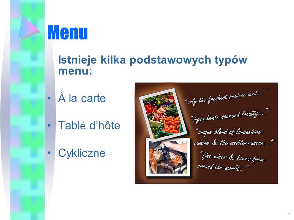 Menu Istnieje kilka podstawowych typów menu: À la carte Tablé d'hôte