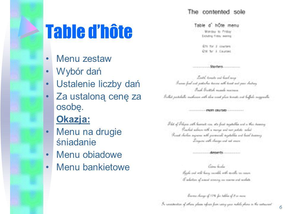 Table d'hôte Menu zestaw Wybór dań Ustalenie liczby dań