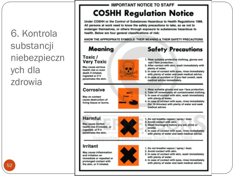 6. Kontrola substancji niebezpiecznych dla zdrowia