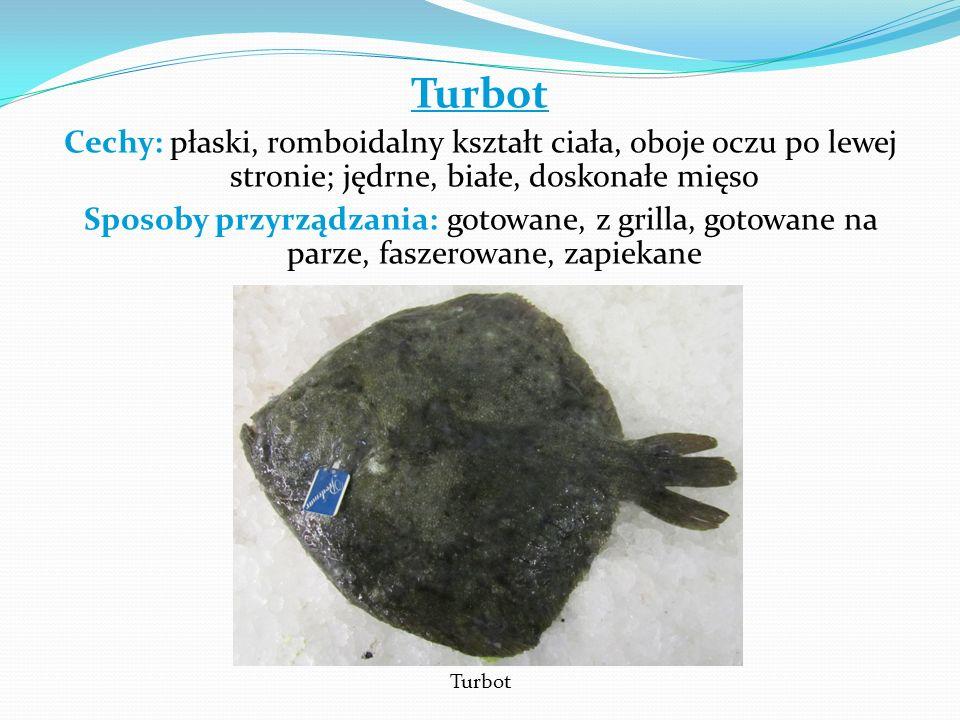 Turbot Cechy: płaski, romboidalny kształt ciała, oboje oczu po lewej stronie; jędrne, białe, doskonałe mięso.