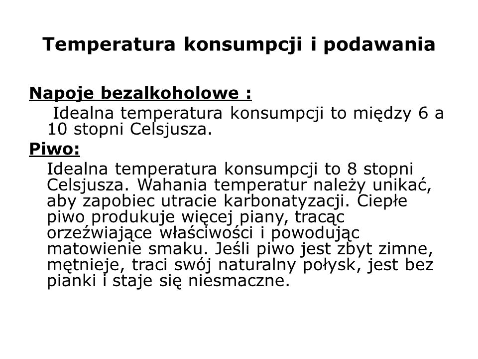 Temperatura konsumpcji i podawania