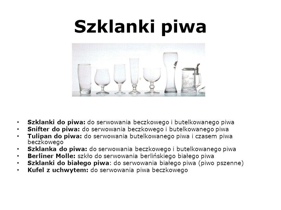 Szklanki piwa (Spójrz na szkło od lewej strony do prawej strony) Szklanki do piwa: do serwowania beczkowego i butelkowanego piwa.