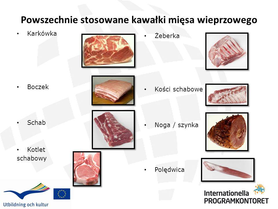 Powszechnie stosowane kawałki mięsa wieprzowego