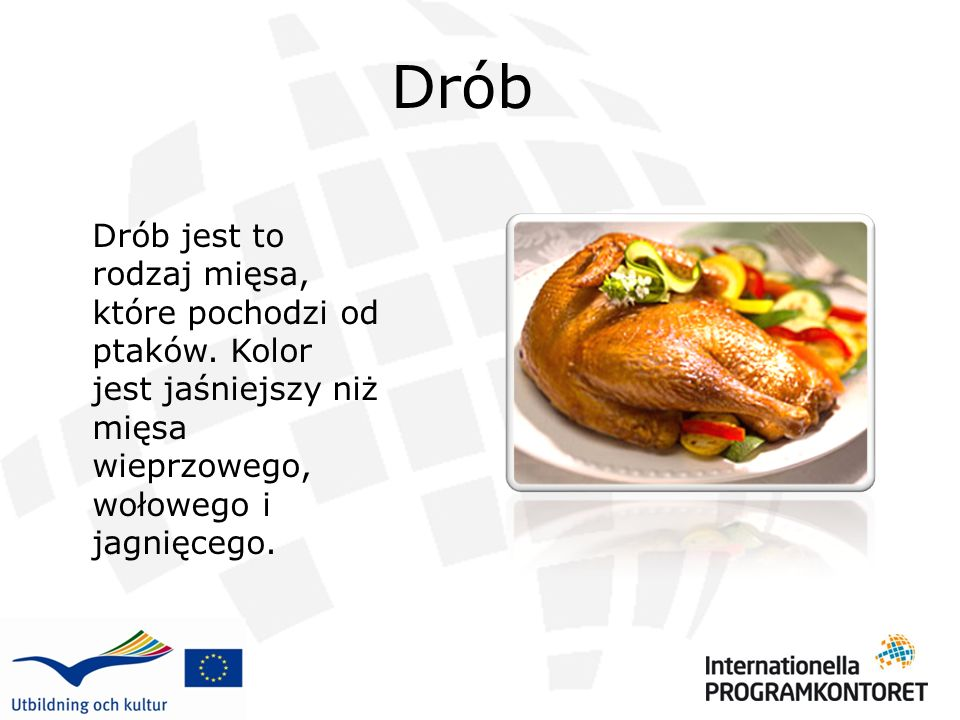 Drób Drób jest to rodzaj mięsa, które pochodzi od ptaków.