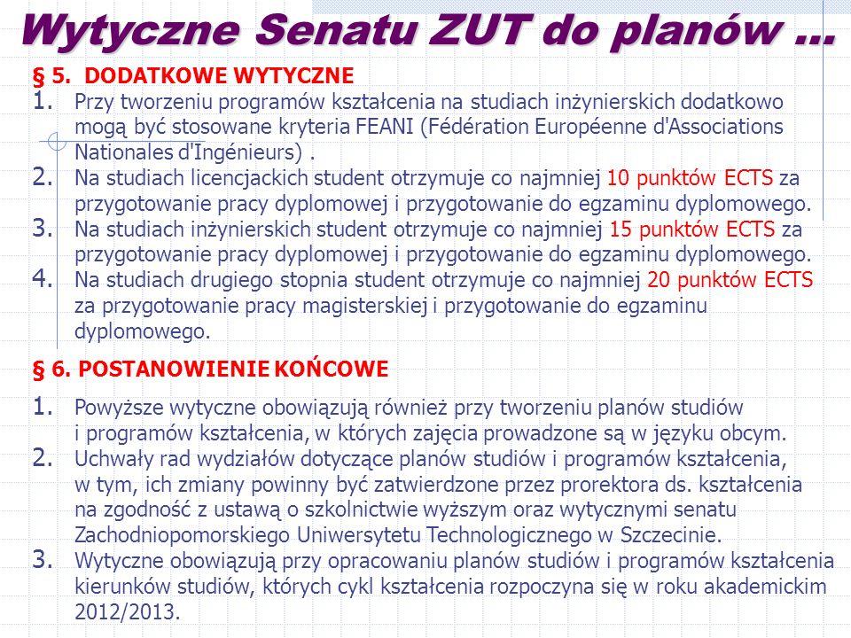 Wytyczne Senatu ZUT do planów ...