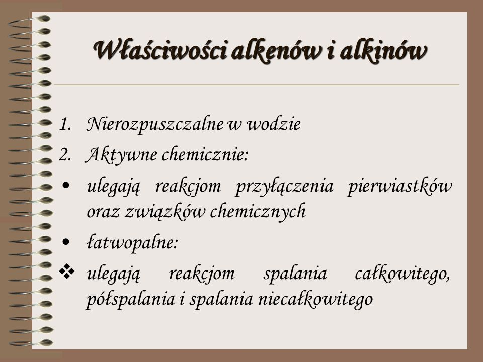 Właściwości alkenów i alkinów
