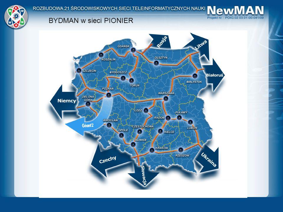 BYDMAN w sieci PIONIER Łączy 22 ośrodki akademickie. 5000km własnych światłowodów. Przepustowość 20Gbps (duplex)