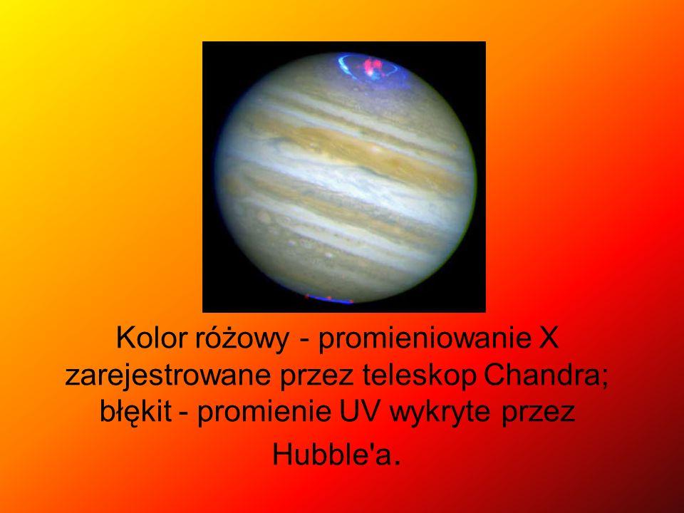 Kolor różowy - promieniowanie X zarejestrowane przez teleskop Chandra; błękit - promienie UV wykryte przez Hubble a.