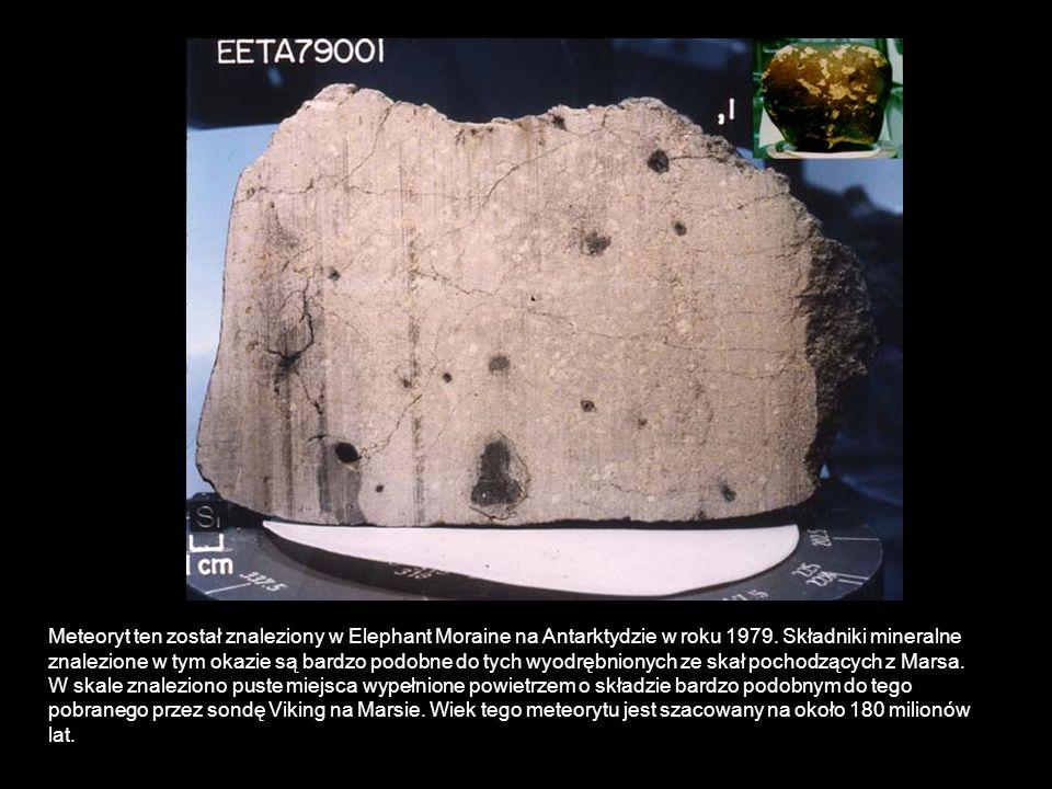 Meteoryt ten został znaleziony w Elephant Moraine na Antarktydzie w roku 1979.