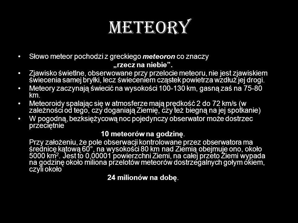 METEORY Słowo meteor pochodzi z greckiego meteoron co znaczy