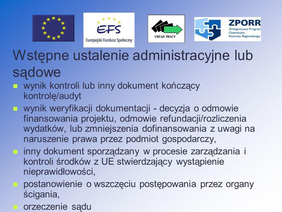 Wstępne ustalenie administracyjne lub sądowe
