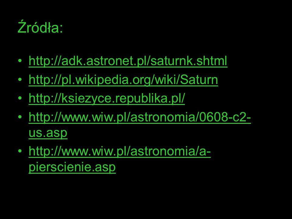 Źródła: http://adk.astronet.pl/saturnk.shtml