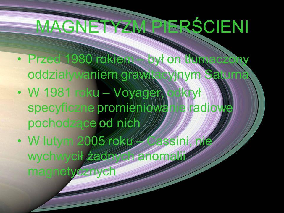 MAGNETYZM PIERŚCIENI Przed 1980 rokiem – był on tłumaczony oddziaływaniem grawitacyjnym Saturna.