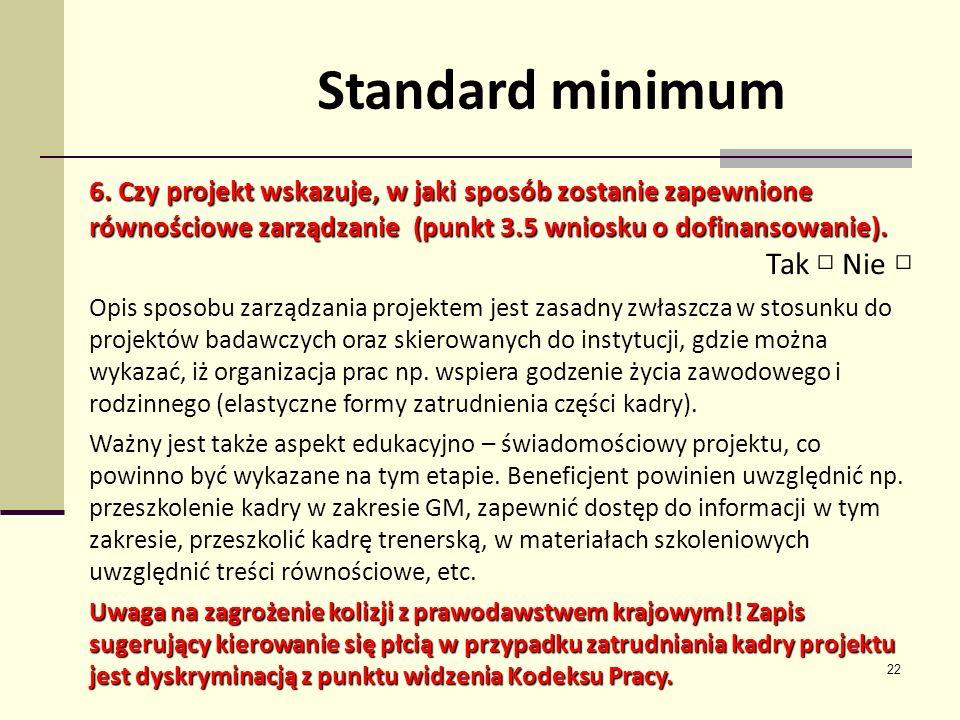 Standard minimum Tak □ Nie □