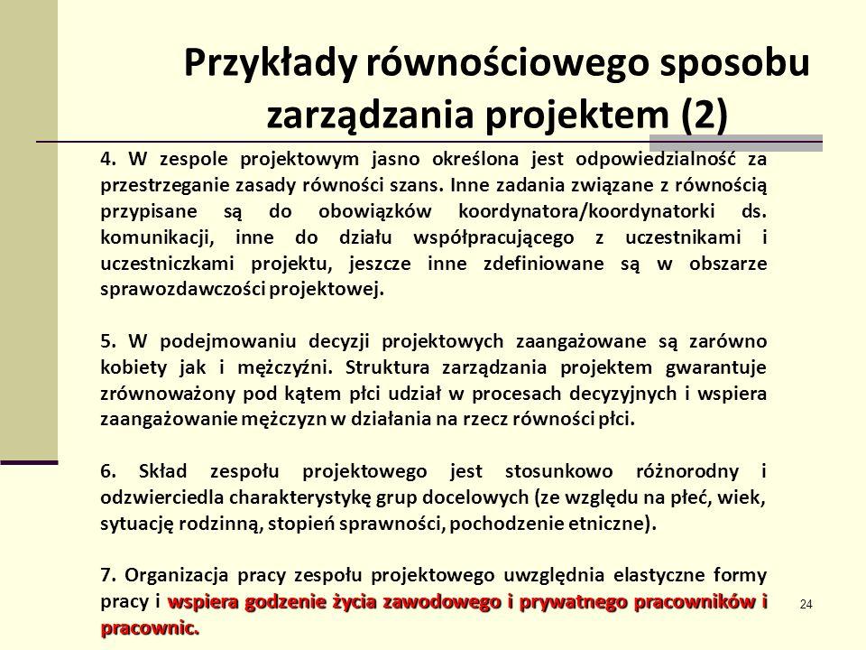 Przykłady równościowego sposobu zarządzania projektem (2)