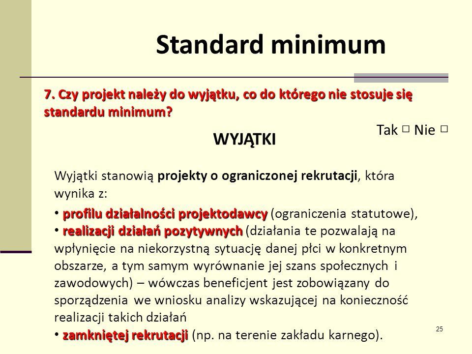 Standard minimum WYJĄTKI Tak □ Nie □