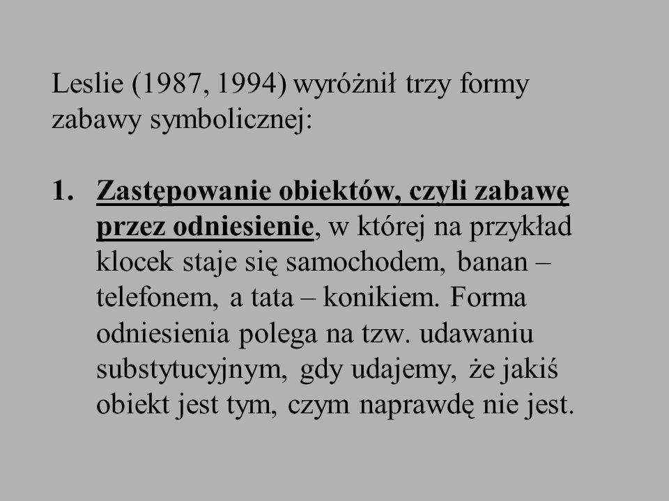Leslie (1987, 1994) wyróżnił trzy formy zabawy symbolicznej: 1