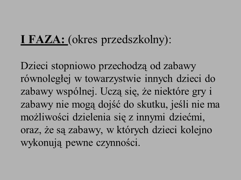 I FAZA: (okres przedszkolny): Dzieci stopniowo przechodzą od zabawy równoległej w towarzystwie innych dzieci do zabawy wspólnej.